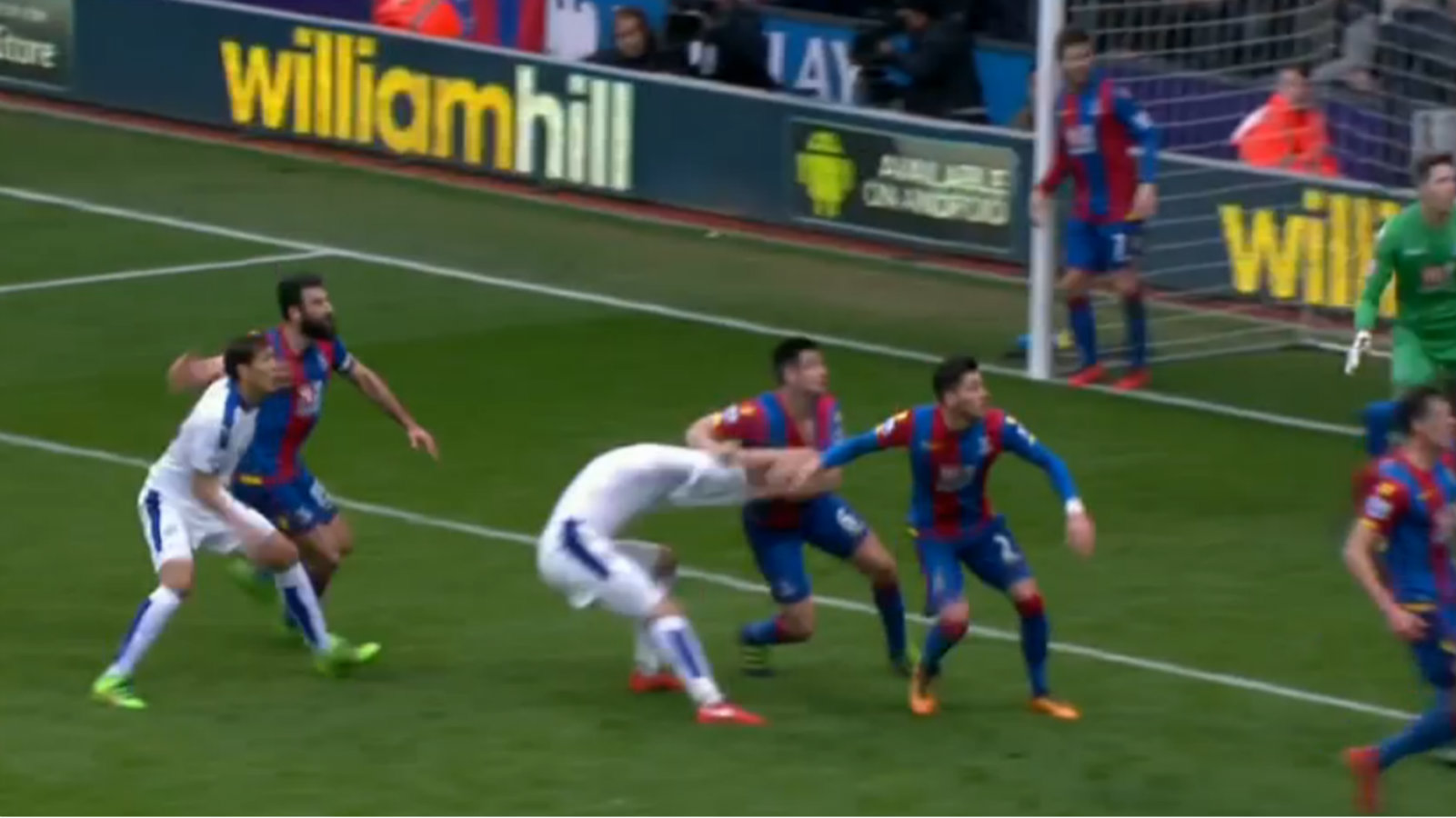 Crystal Palace defender rips Leicester City player's shirt clean off during game