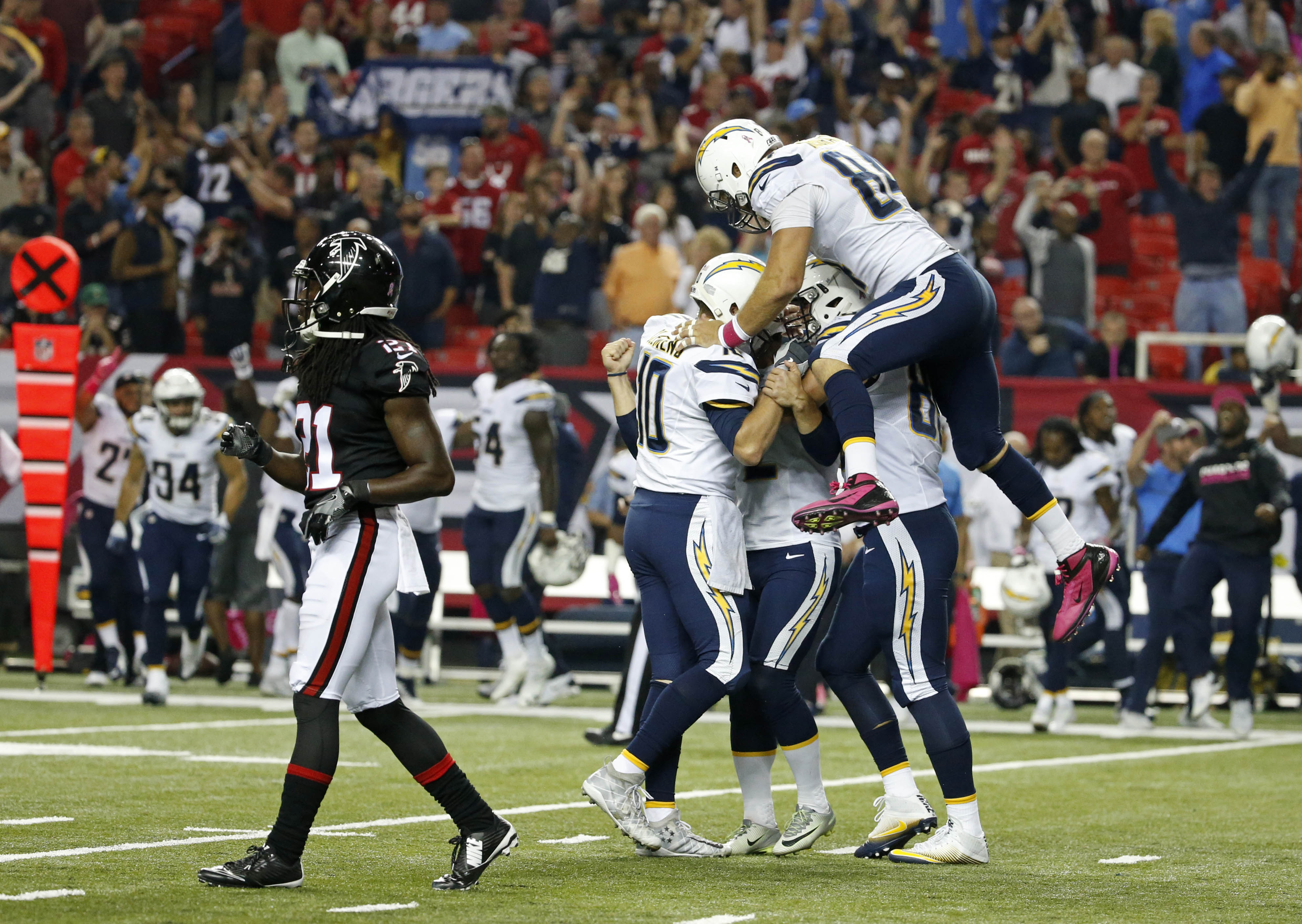 Chargers beat Falcons 33-30 in OT on Lambo's 42-yard FG