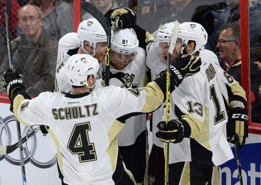 Crosby, Hagelin score twice, Pens beat Sens for 7th straight win