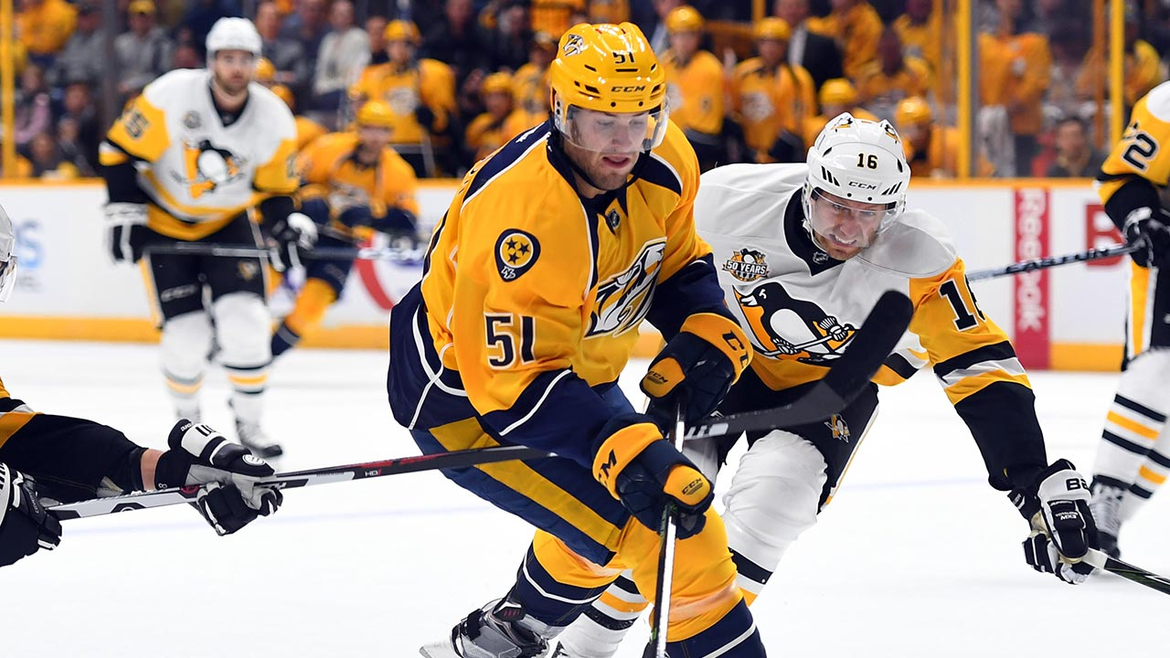 After long wait, Austin Watson proving key component to Predators' fourth line