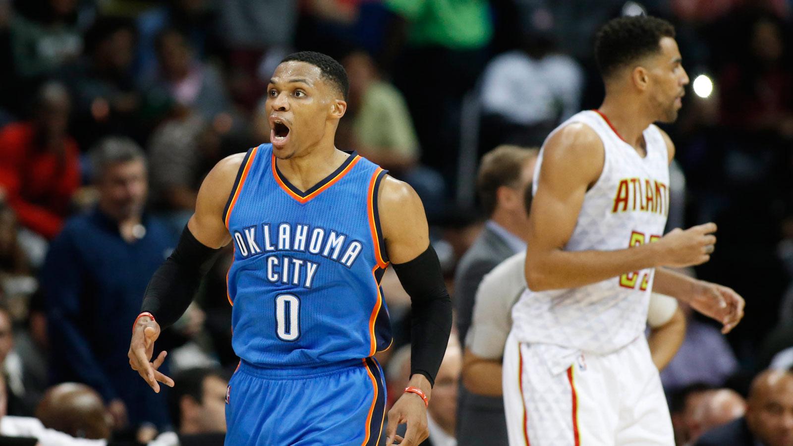 Westbrook's triple-double leads Thunder past Hawks, 102-99