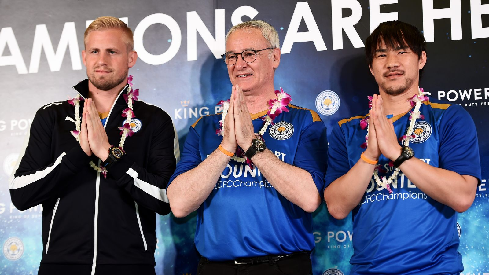 Leicester City receive heroes' welcome on arrival in Thailand