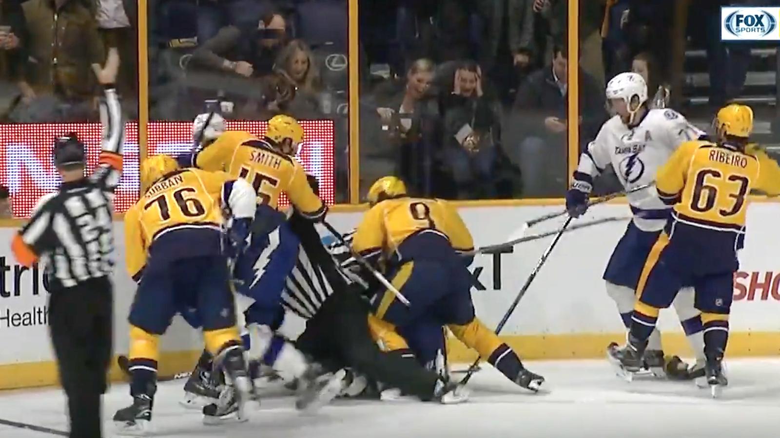 The Predators and Lightning brawled after a nasty blindside hit