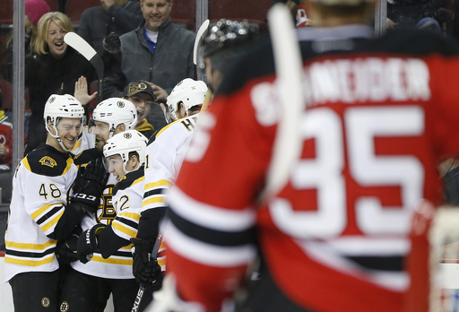 Vatrano's early goal leads Bruins past banged-up Devils, 4-1