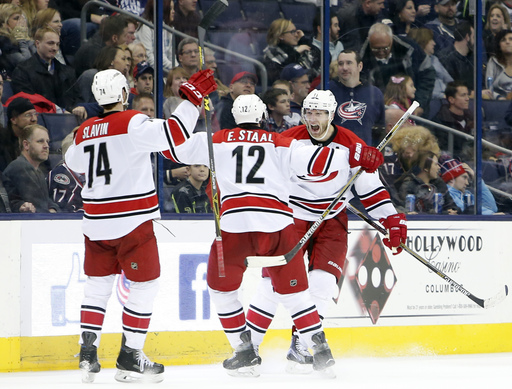Jordan Staal scores in OT, Hurricanes beat Blue Jackets 4-3