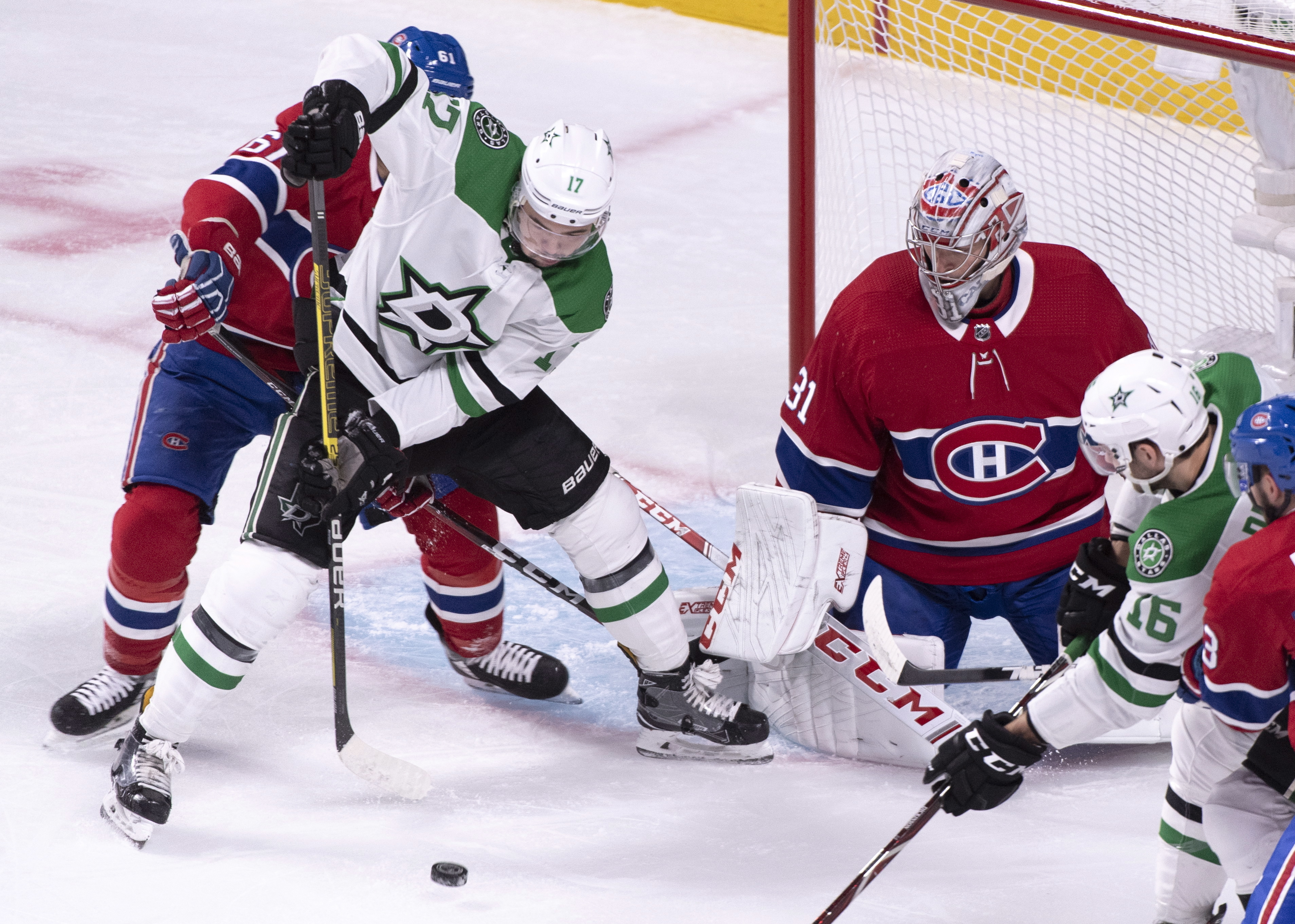 Shore has 3 points, Bishop 34 saves to lift Stars over Habs