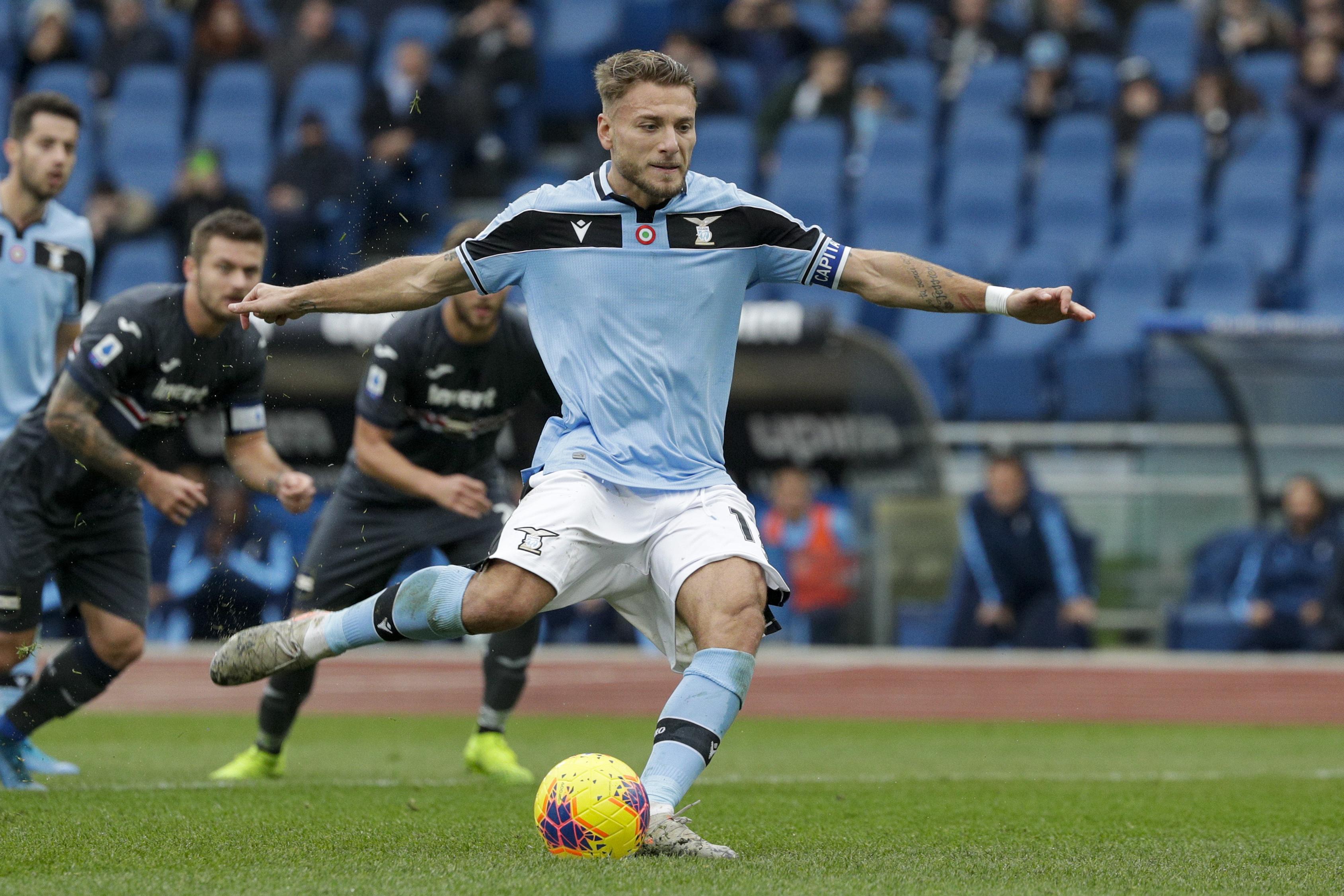 Immobile treble helps title contender Lazio crush Samp 5-1