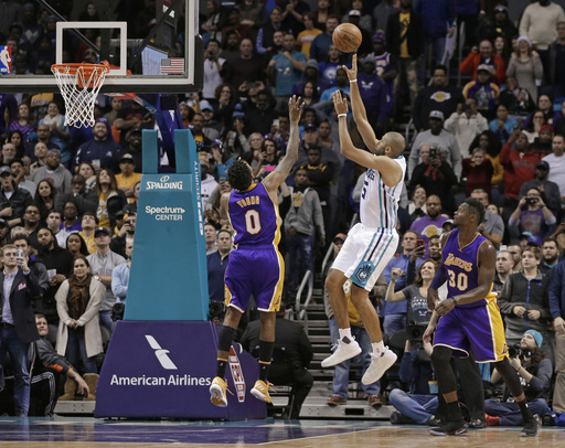 Walker leads Hornets past hot-shooting Lakers, 117-113 (Dec 20, 2016)