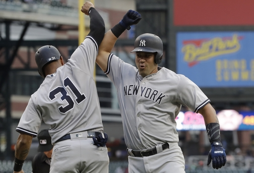 Sanchez homers twice, Tanaka sharp as Yanks rout Tigers 13-4 (Aug 22, 2017)