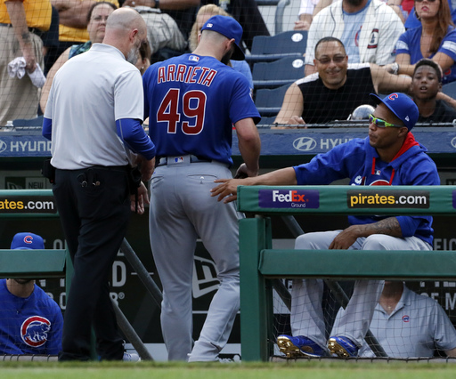 Jake Arrieta exits with injury, Pirates rout Cubs 12-0 (Sep 04, 2017)