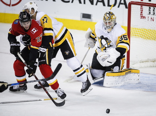 Smith makes 43 saves, Giordano scores in OT, Flames top Pens (Nov 02, 2017)