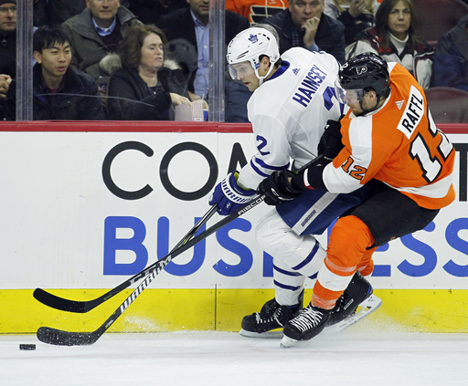 Couturier lifts Flyers over Maple Leafs 4-2 for 4th straight (Dec 12, 2017)