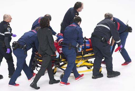 Canadiens F Danault hit in head by Chara slap shot