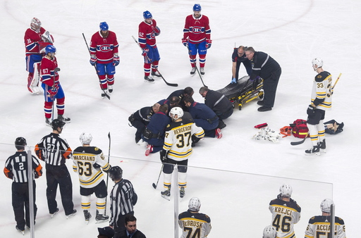 Danault hit in head by Chara's slap shot; Bruins top Habs (Jan 13, 2018)