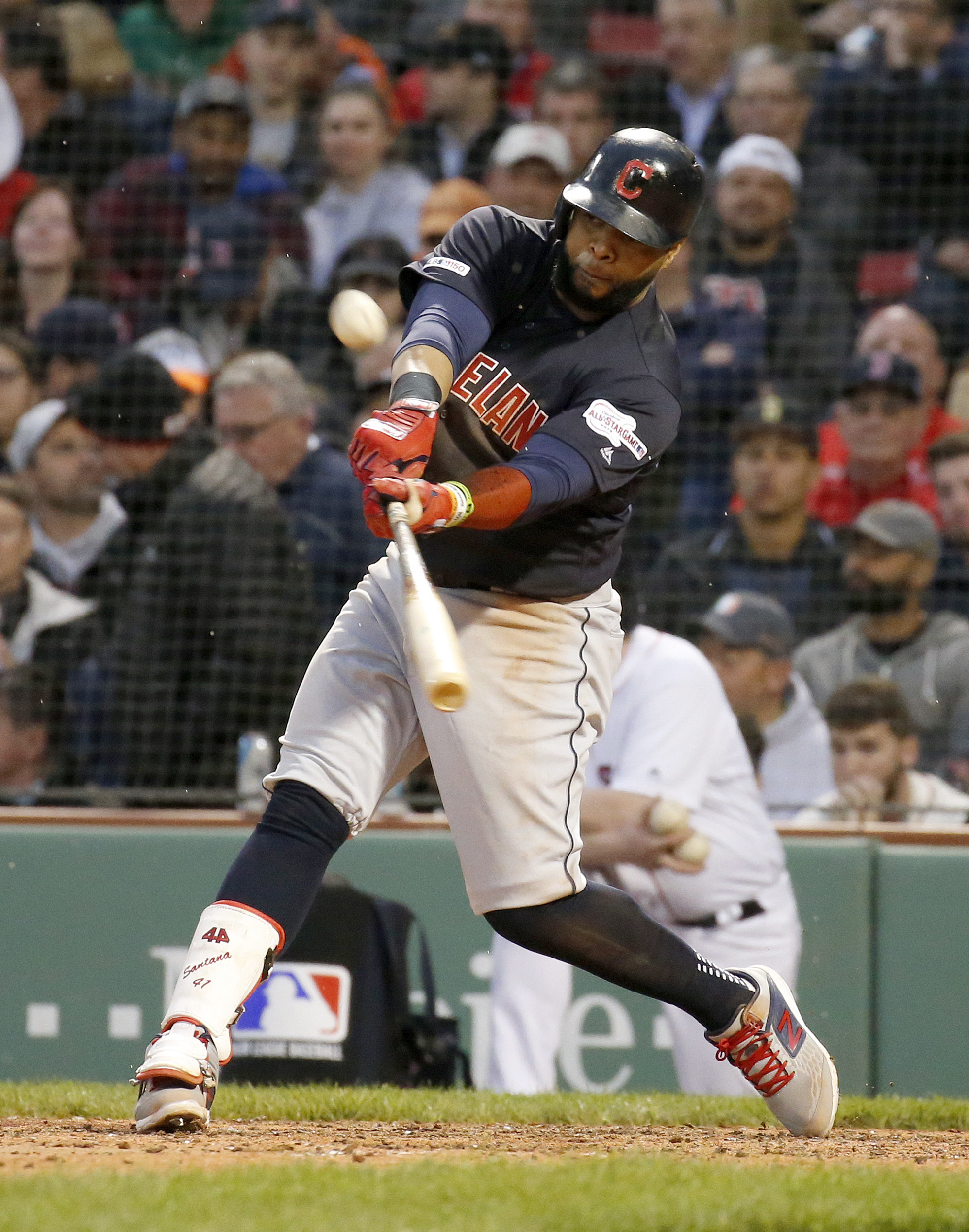 Santana powers Indians past Red Sox 14-9
