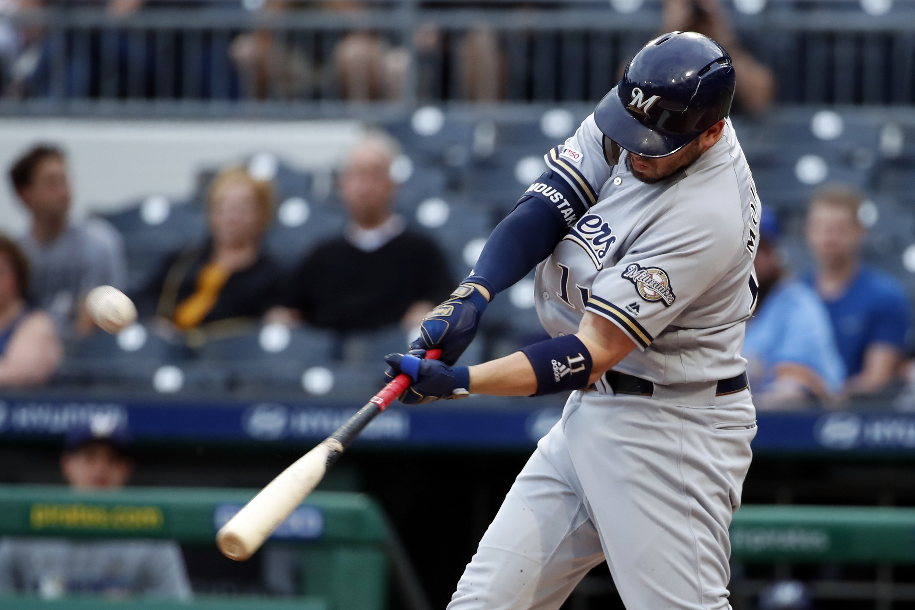 Moustakas goes deep twice, Brewers top Pirates 11-5