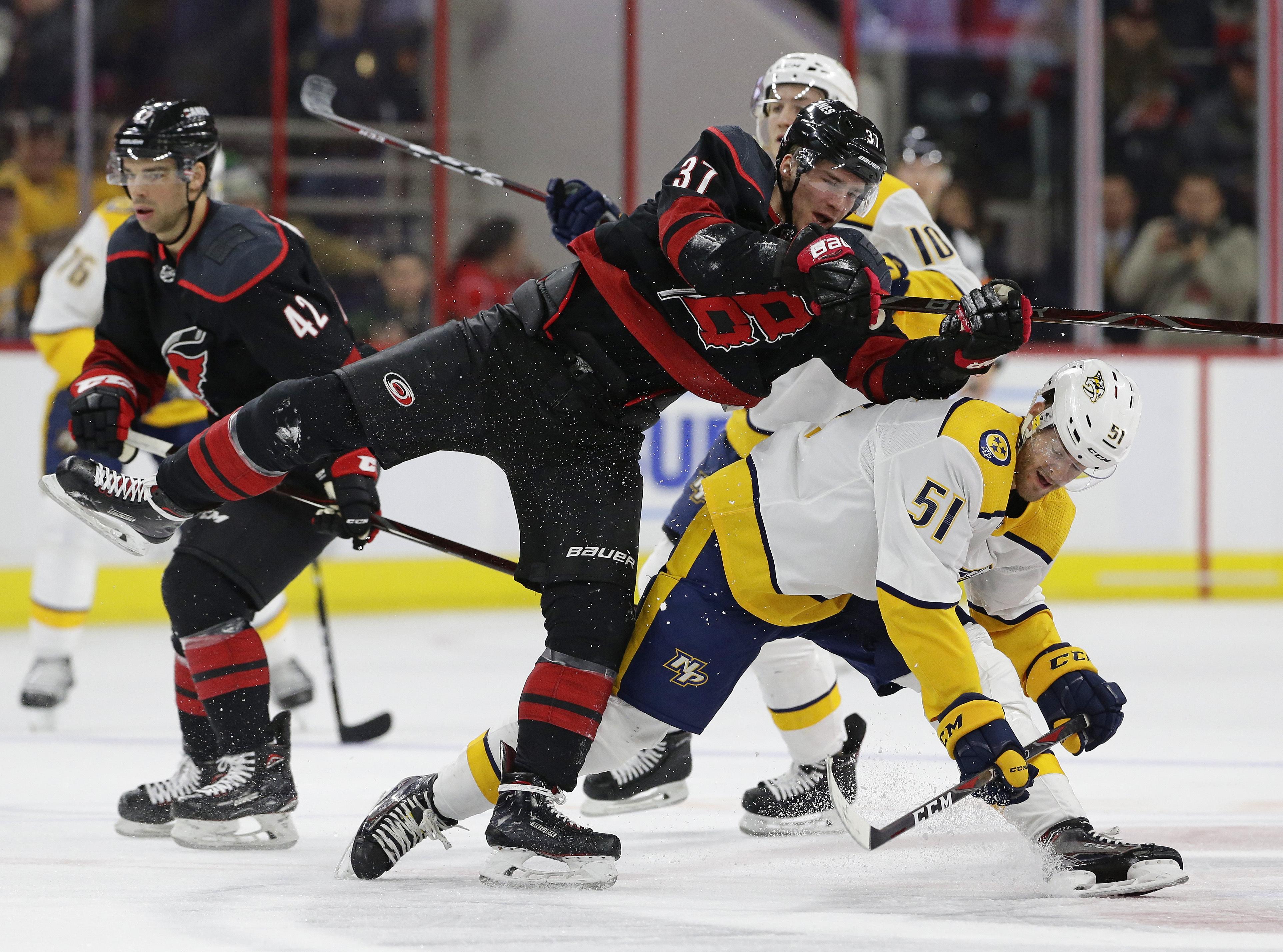 Aho leads Hurricanes past Predators 6-3