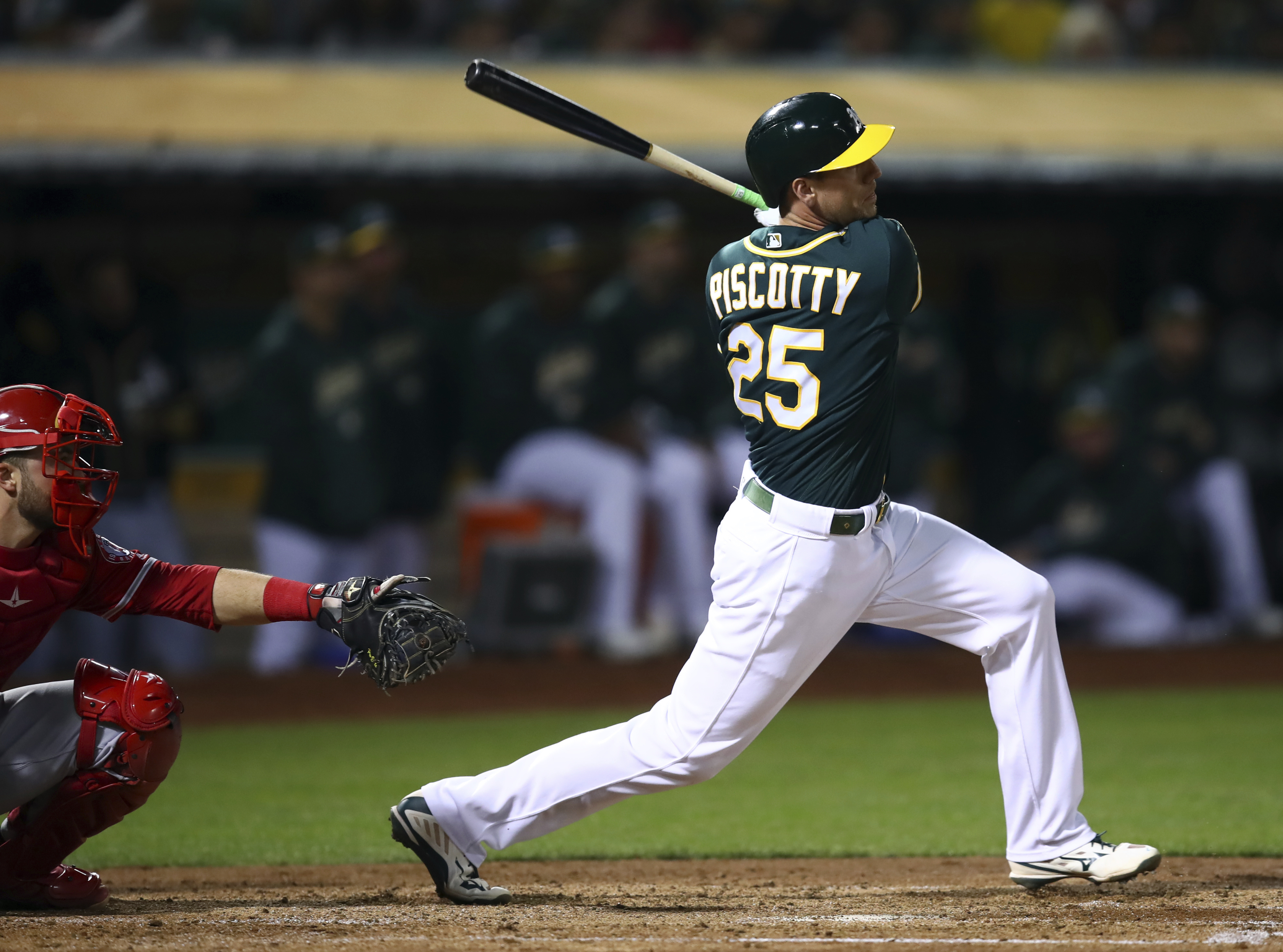 Piscotty homers and drives in 5 as A's rout Angels 10-0