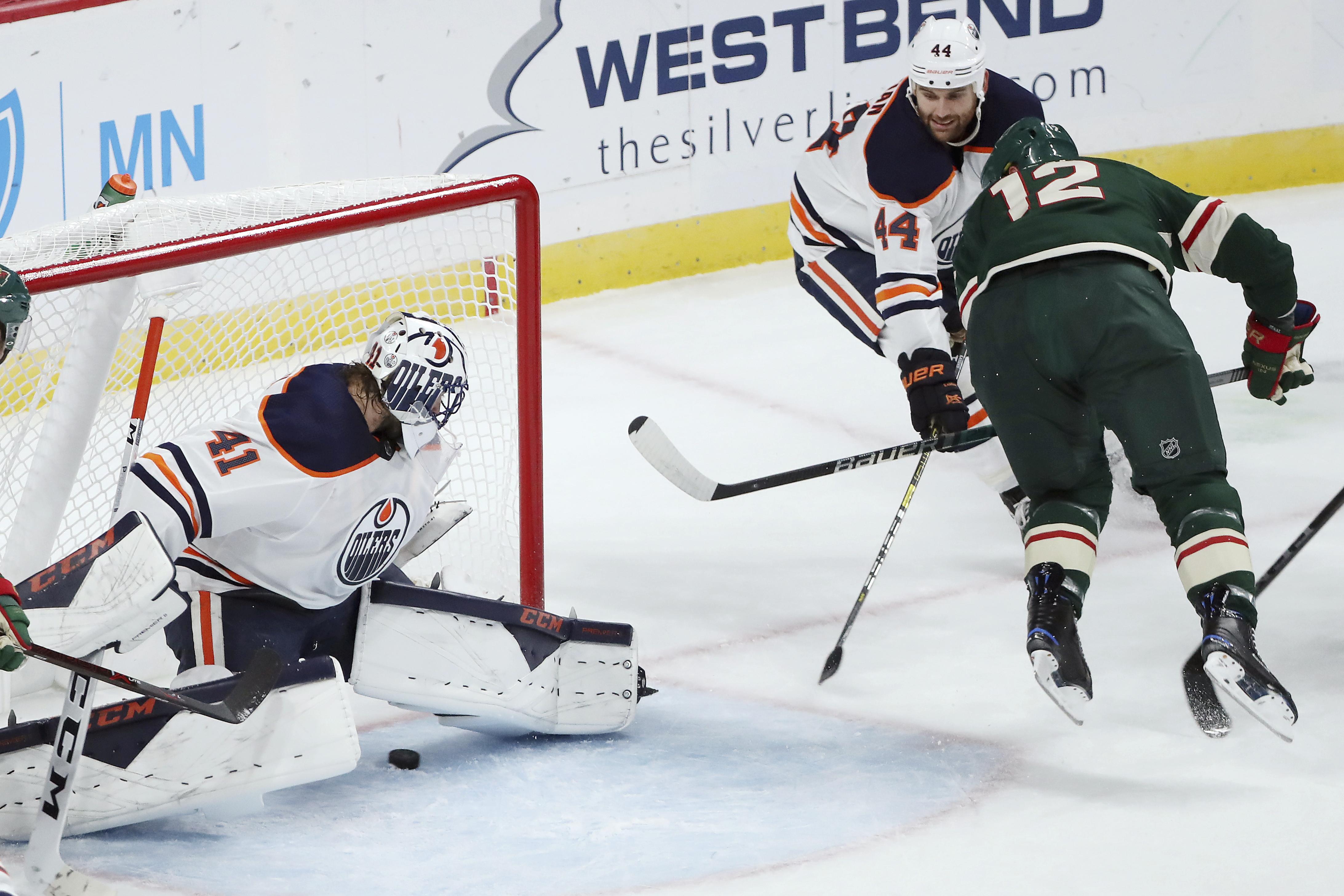 Staal scores 2, Dubnyk hurt in Wild's 3-0 win over Oilers