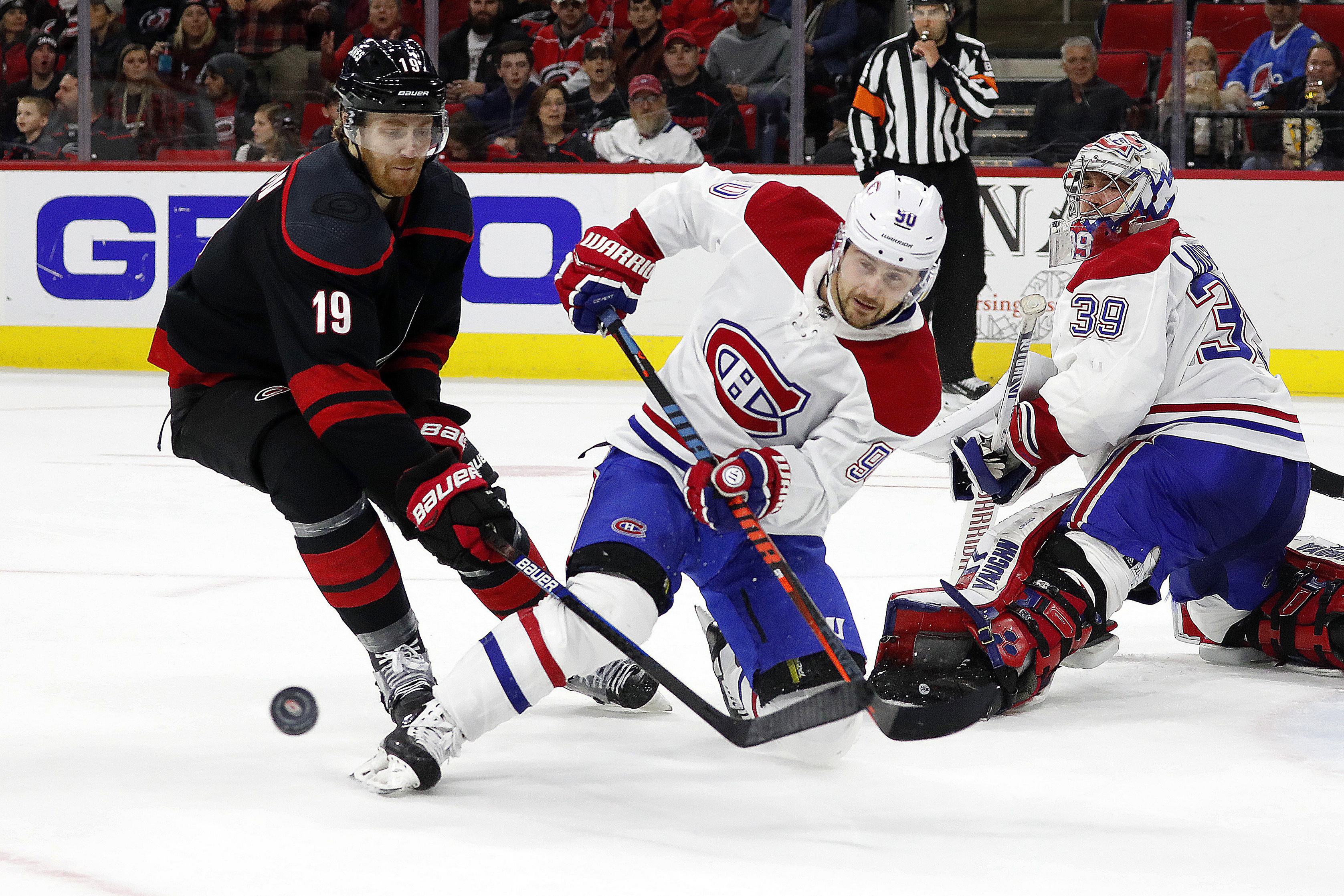 Haula helps Hurricanes earn 3-1 win over Montreal