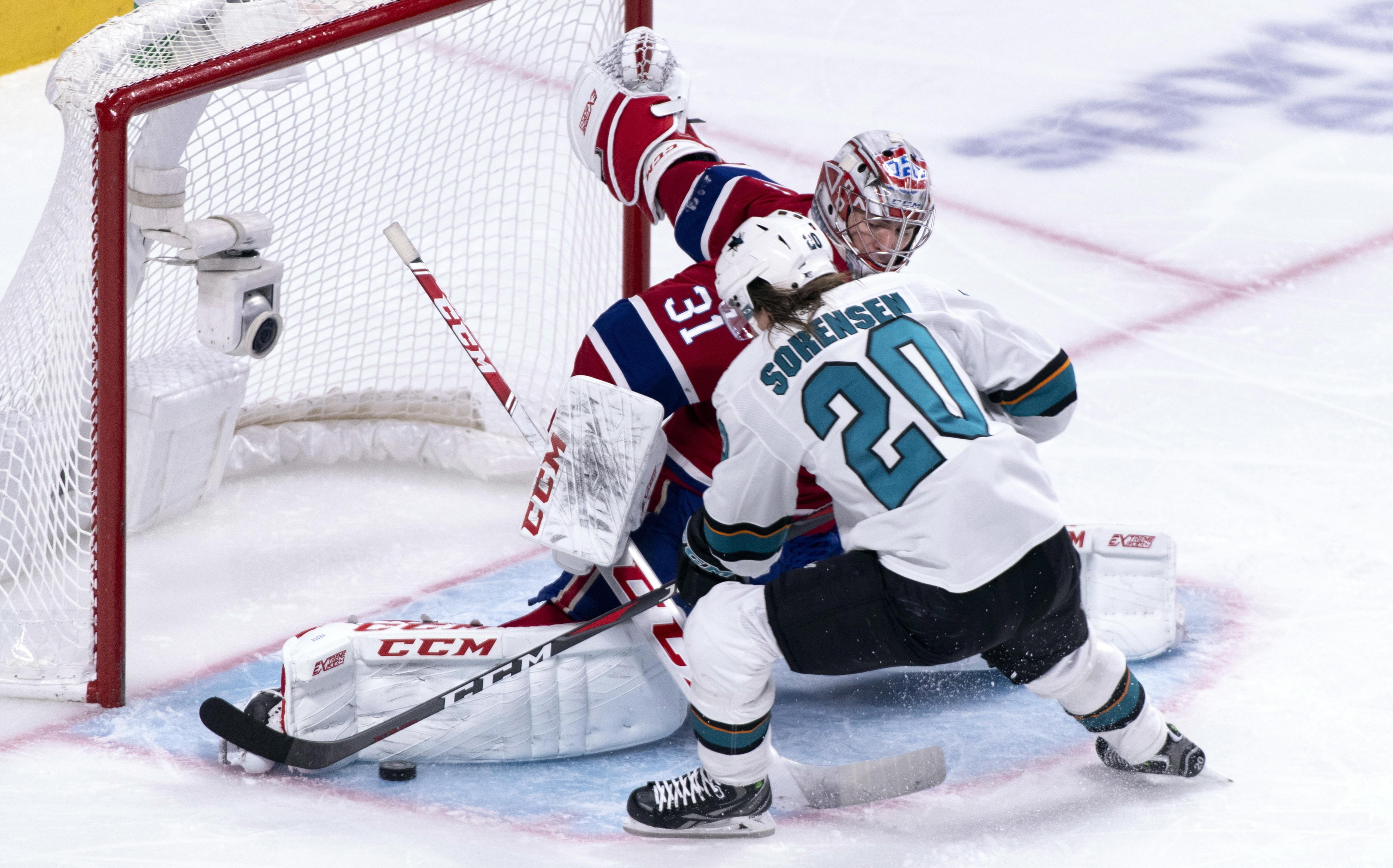 Martin Jones makes 39 saves, Sharks beat  Canadiens 3-1