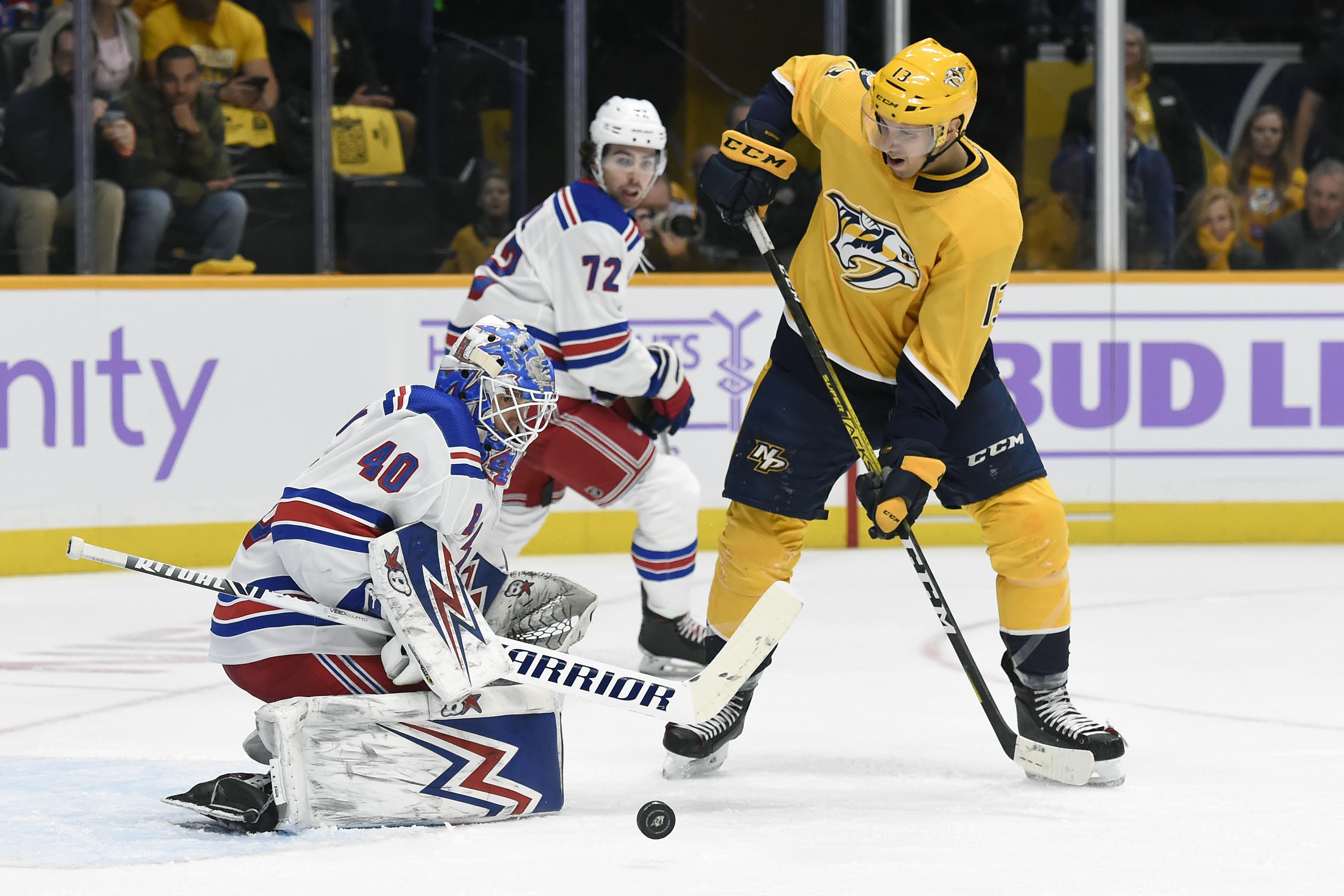 Georgiev's 32 saves leads Rangers over Predators 2-1