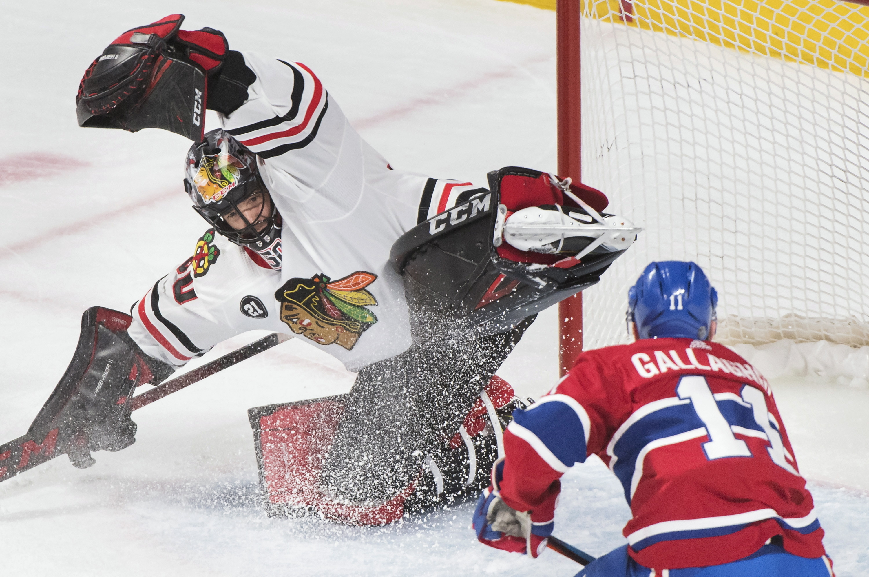 Crawford makes 48 saves in Blackhawks' 2-0 win vs. Canadiens