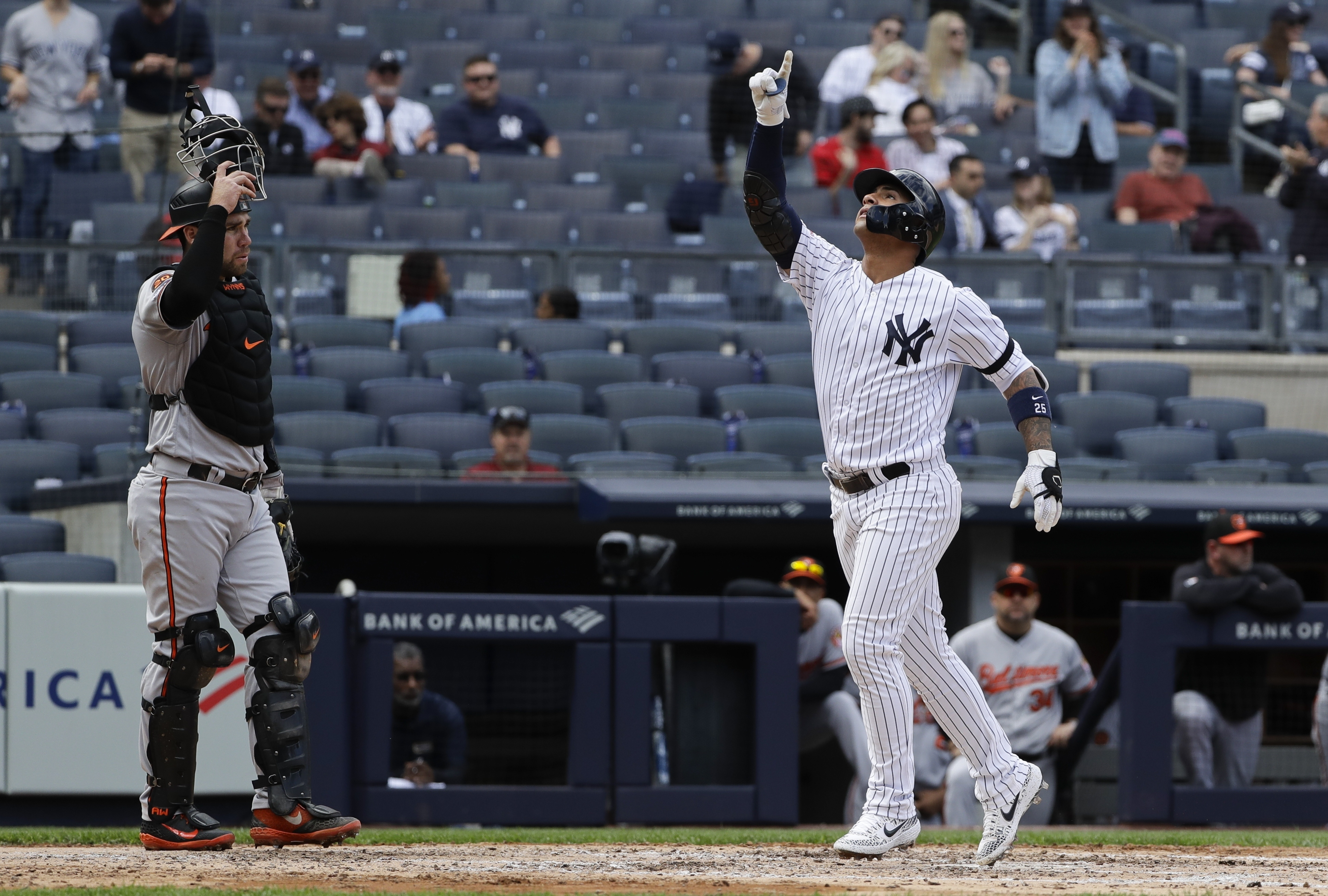 Torres hits 2 of Yanks' 4 HRs, NY tops O's 5-3 to open DH