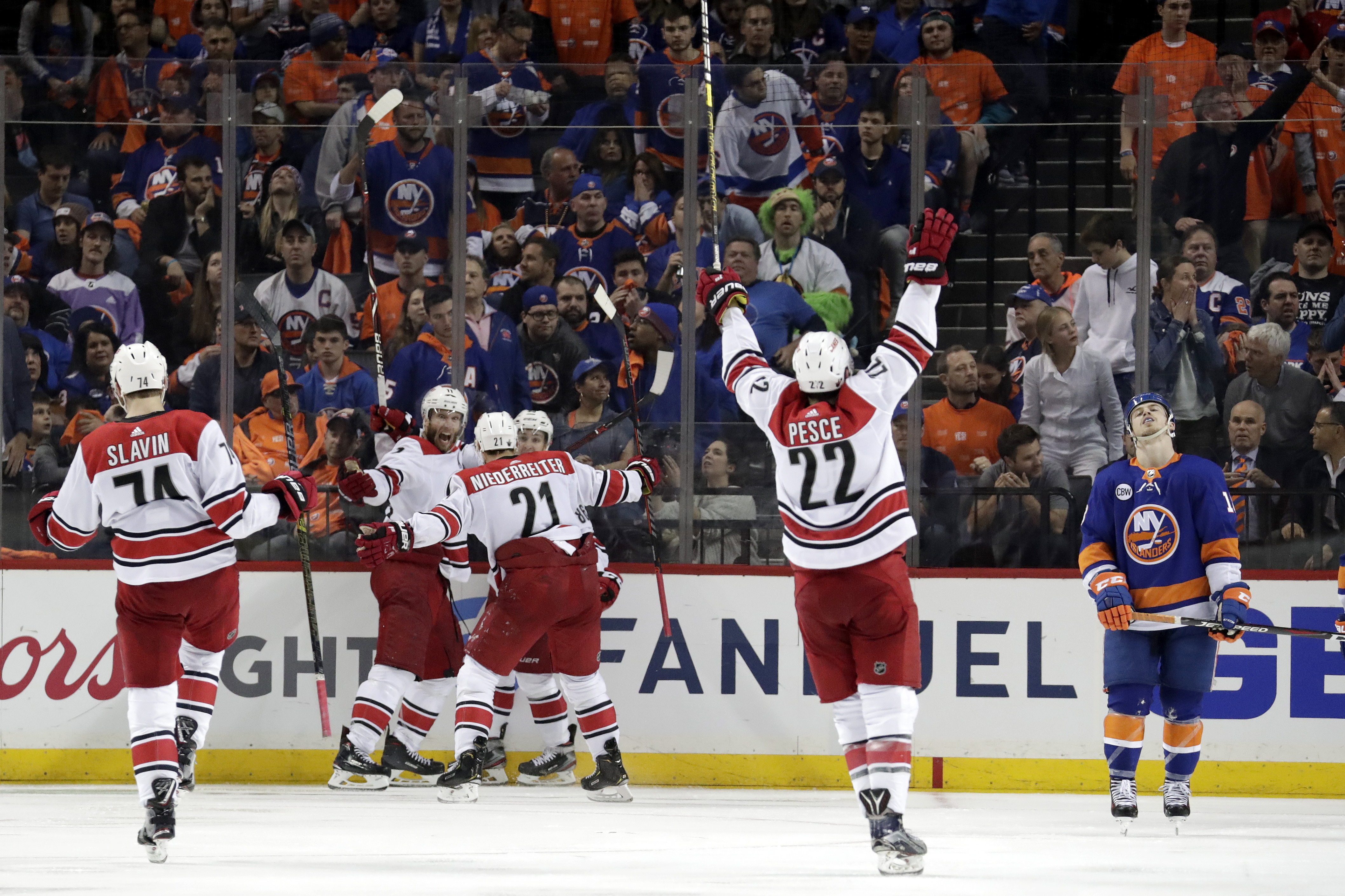 Staal lifts Hurricanes past Islanders 1-0 in OT in Game 1