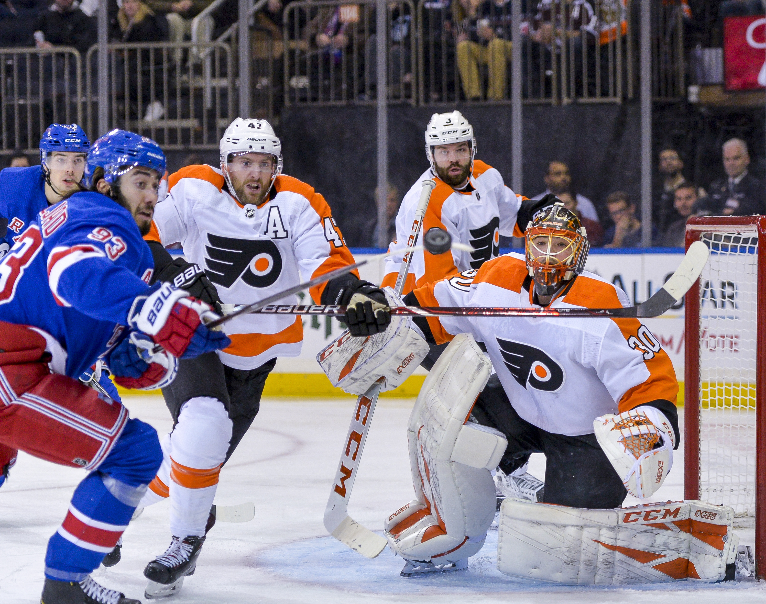 Patrick lifts Flyers over scuffling Rangers 3-2 in shootout