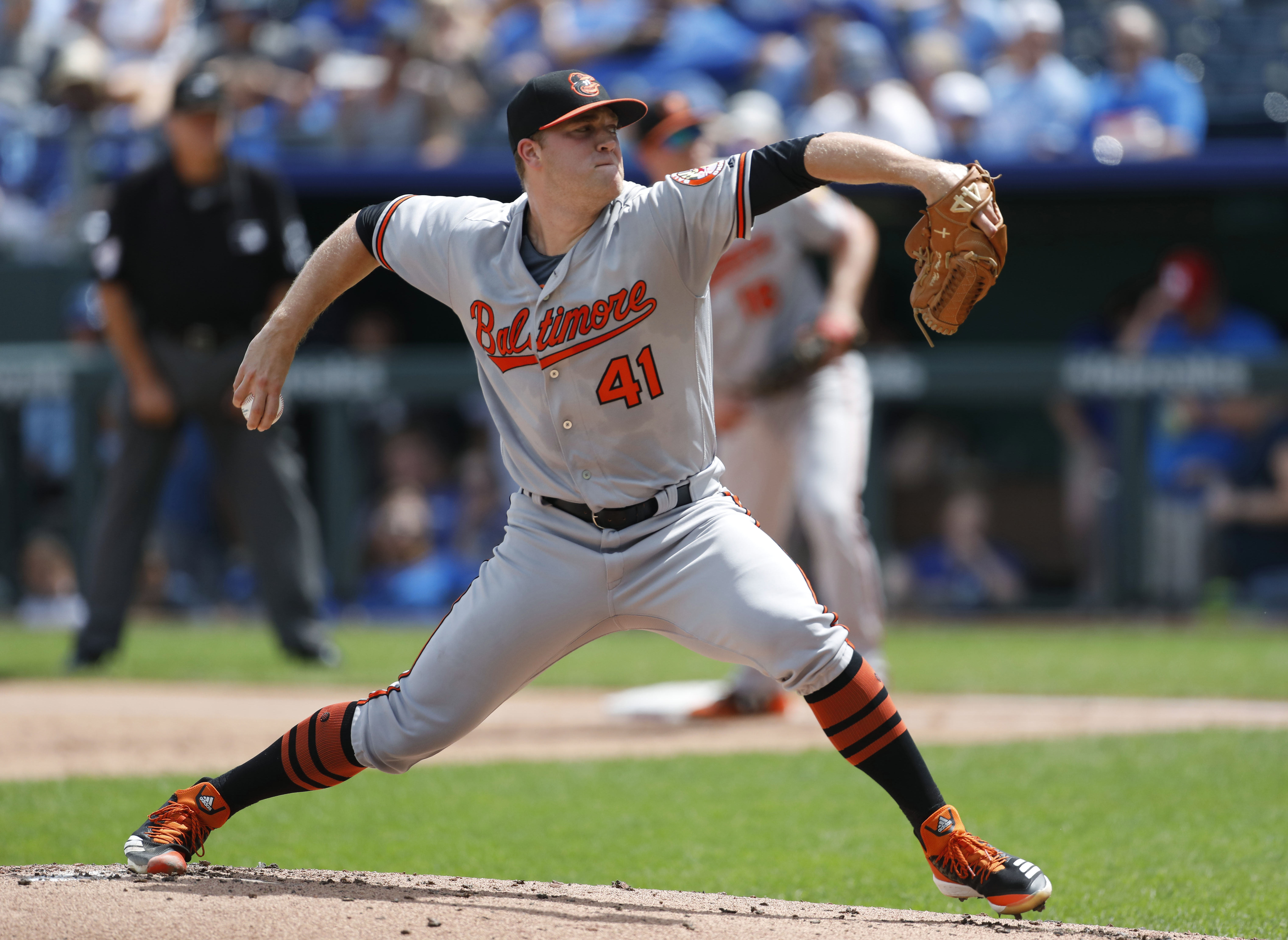 Orioles pitcher Hess hit in eye playing catch with football