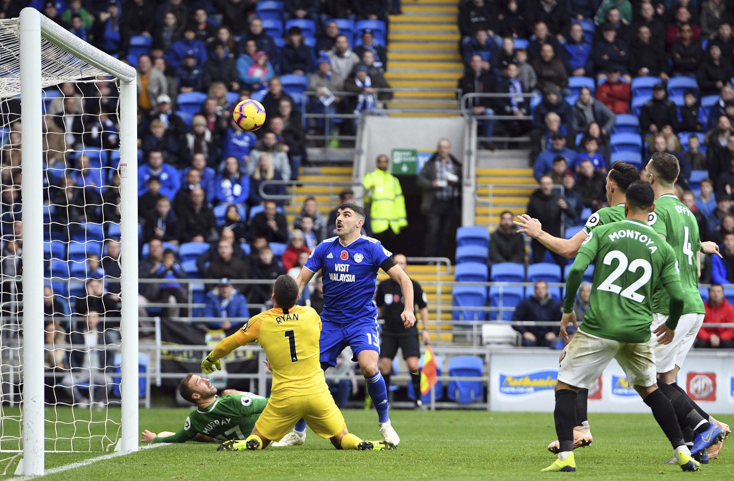 Cardiff grabs 90th-minute winner, beats Brighton 2-1 in EPL