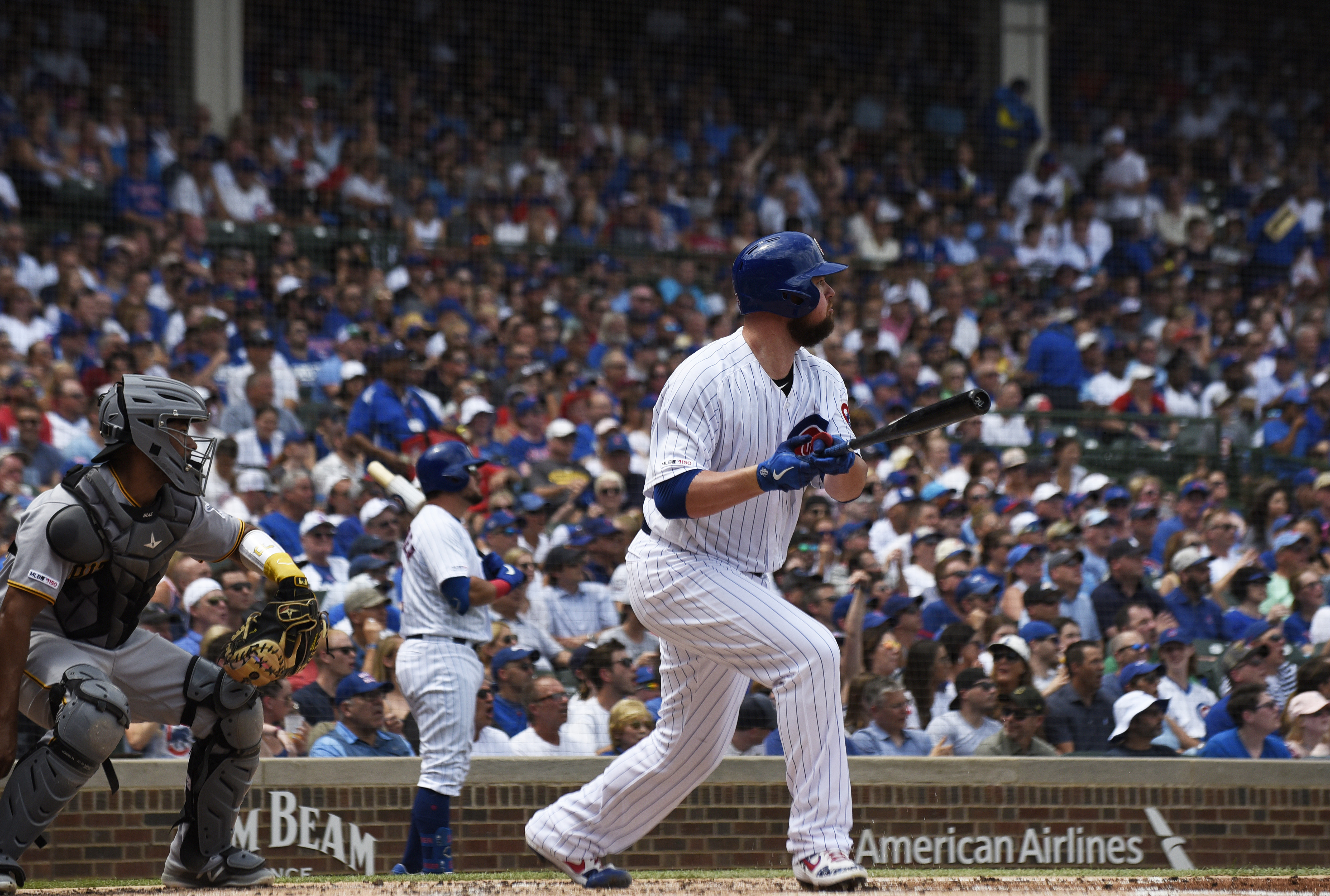 Lester homers, drives in 3, pitches Cubs past Pirates 10-4