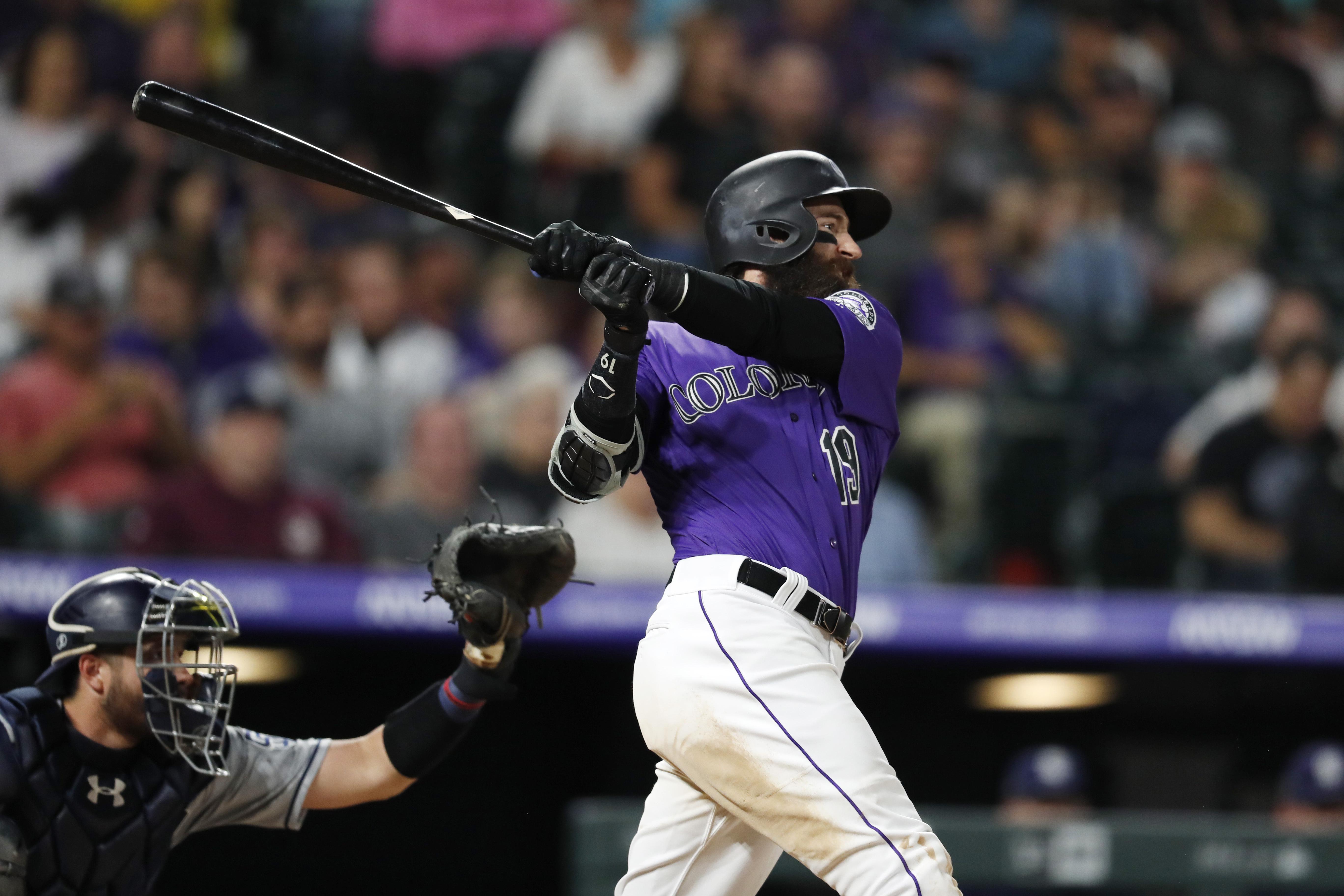 Blackmon hits 2 HRs, Gray Ks 10 as Rockies beat Padres 9-6