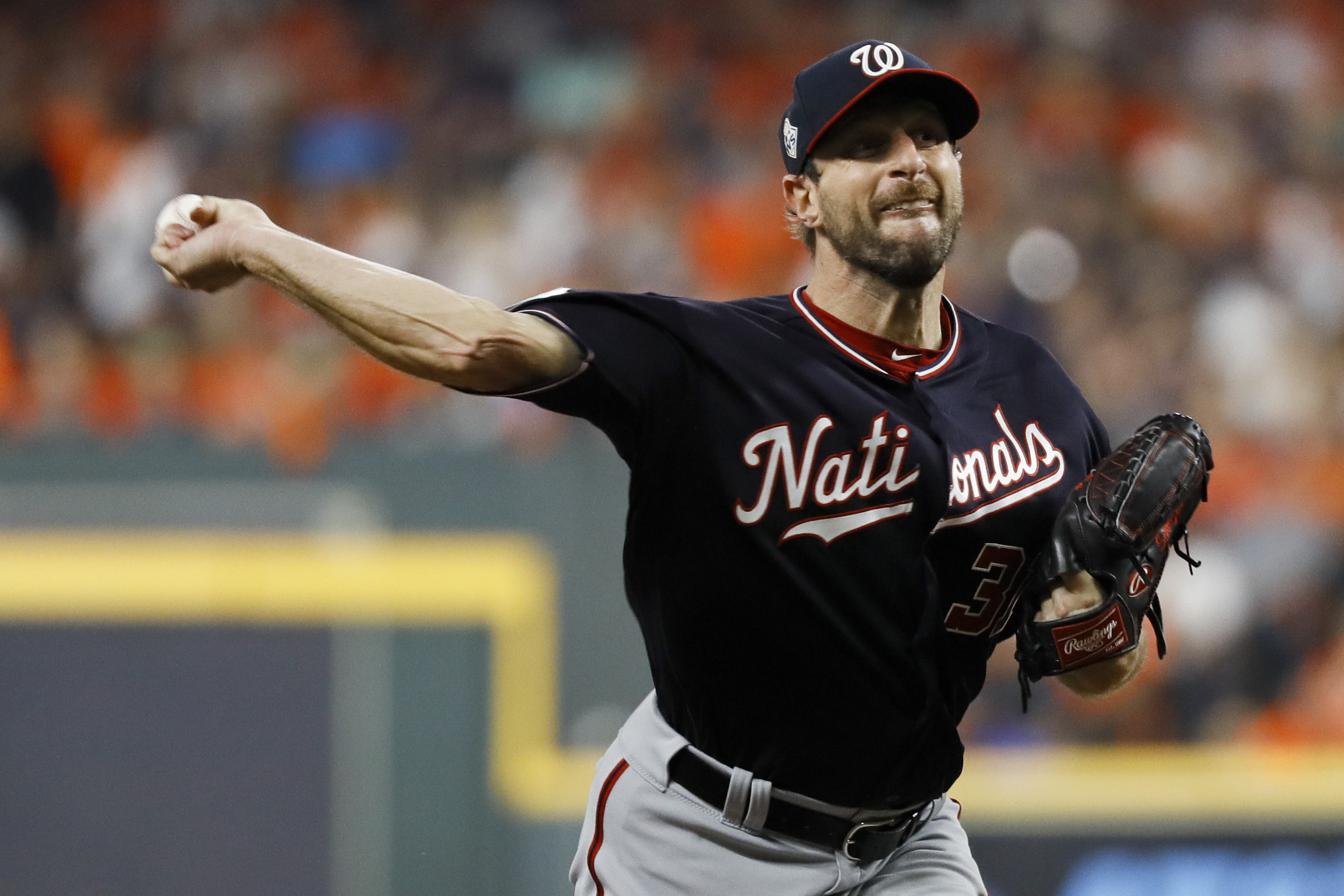 The Latest: Cole pitches Astros to 3-2 Series lead over Nats