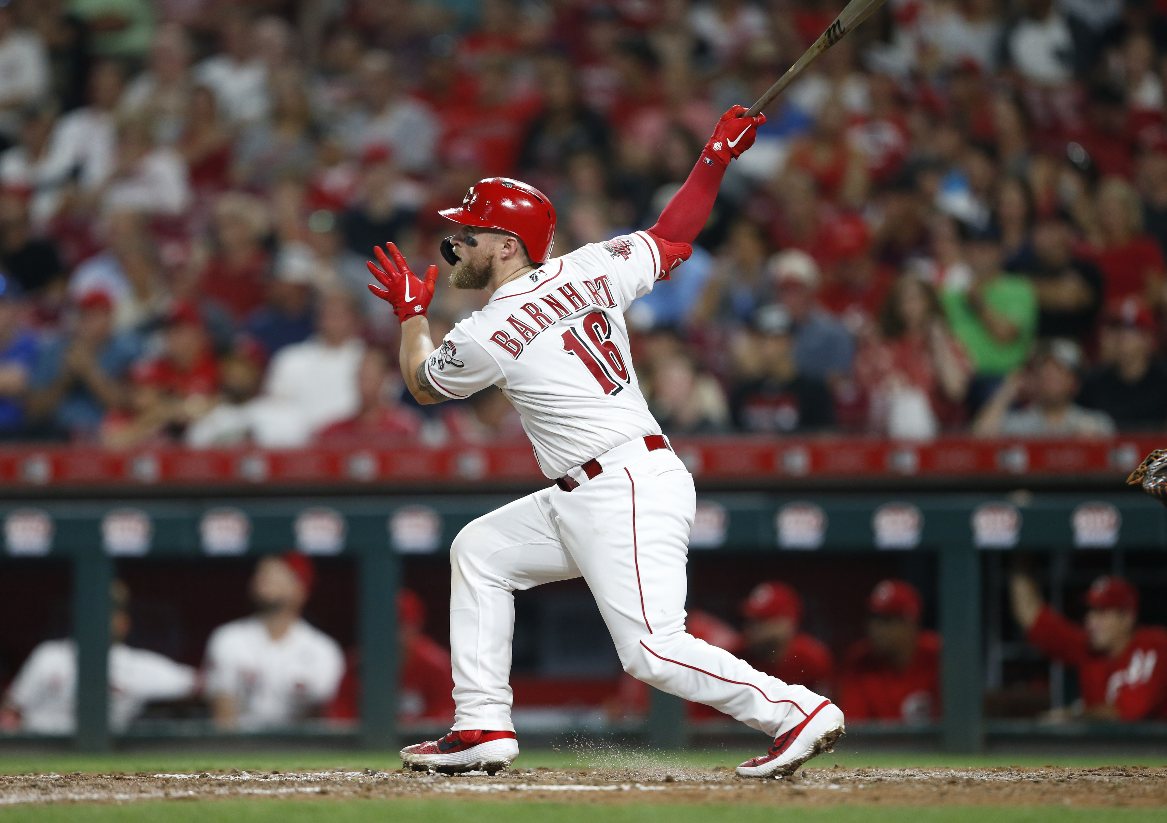 Barnhart leads Reds homer barrage in 8-4 win over Angels
