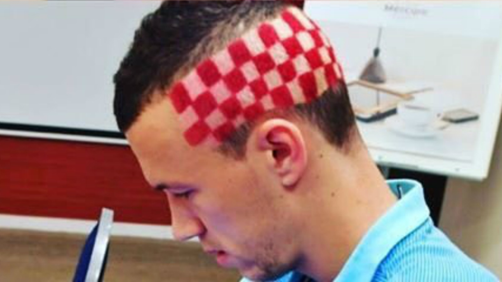 Check out Ivan Perisic's wild checkerboard haircut that looks like the Croatia kit