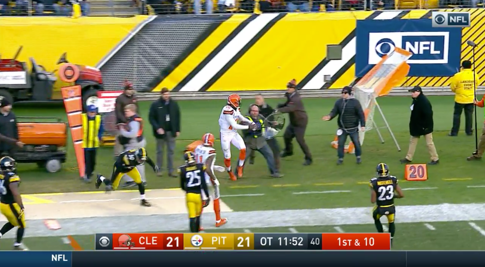 Robert Griffin III trucked a sound guy on sideline, and you could hear the whole thing