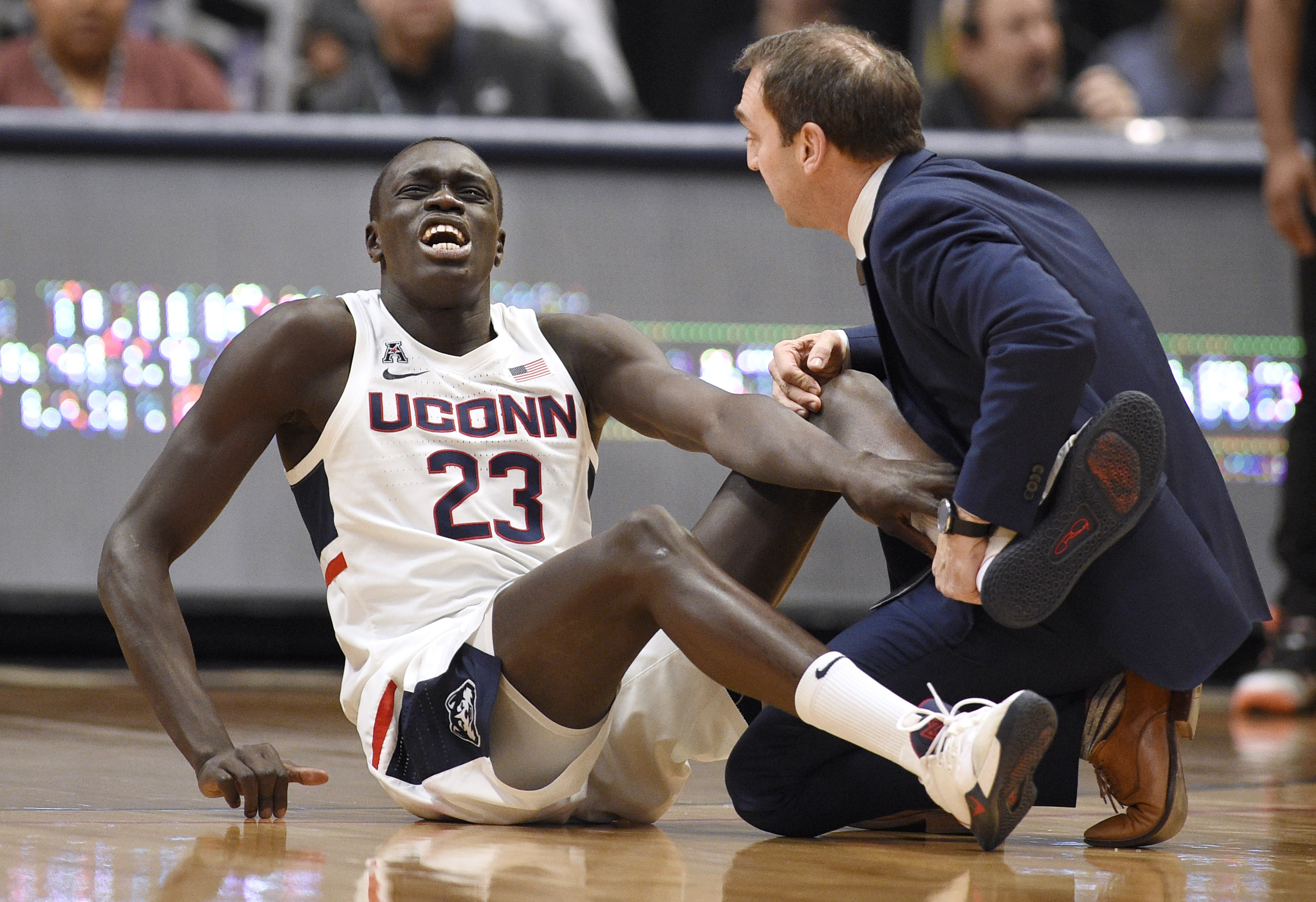 UConn's Akok out for season with torn left Achilles tendon